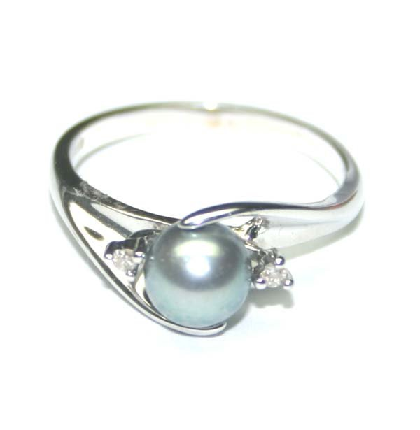 1000: 6mm GRAY PEARL & DIAMOND 14K GOLD RING.