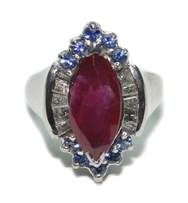 1010: 4.CT DIA  RUBY & SAPP  8 GR 14K GOLD RING.