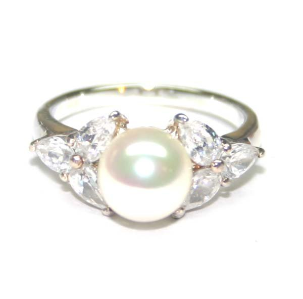 1017: 8 mm CR PEARL & LAB W,SAPPH .925 SILVER RING .