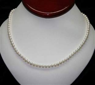 4.5 - 5 mm NATURAL PEARLS 10KT GOLD NEACKLCE .