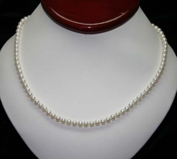 2019: 4.5 - 5 mm NATURAL  PEARLS 10KT GOLD NEACKLCE .
