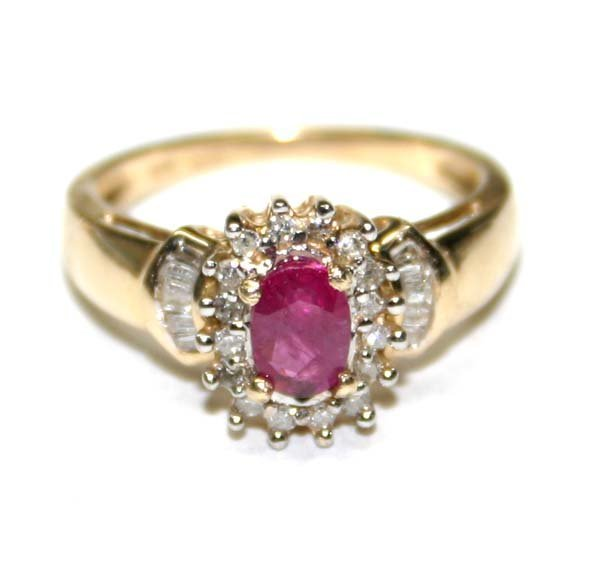 3011: 1,CT DIAMOND & RUBY 10K GOLD RING .