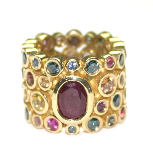 3427: 10,CT MULTI COLOR GEM 18K GOLD RING 25 GR .