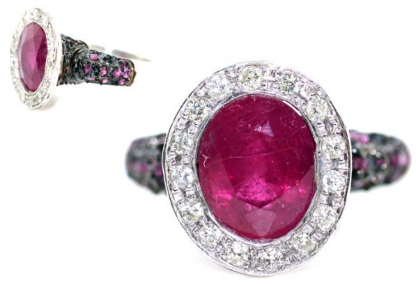 3703: 3, CT DIAMOND &   RUBY 14K  GOLD RING