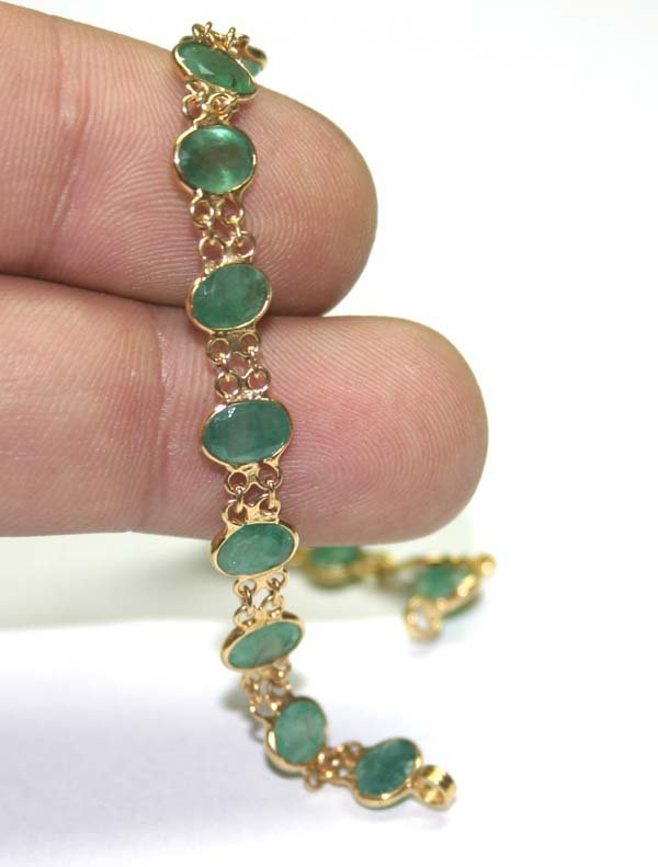 4007: GENUINE 7.50 ,CT EMERALD 14K GOLD BRACELET 5.80 G
