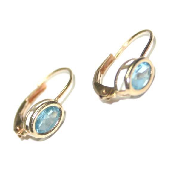5023: 1,CT BLUE TOPAZ 10KT  GOLD EARRINGS .
