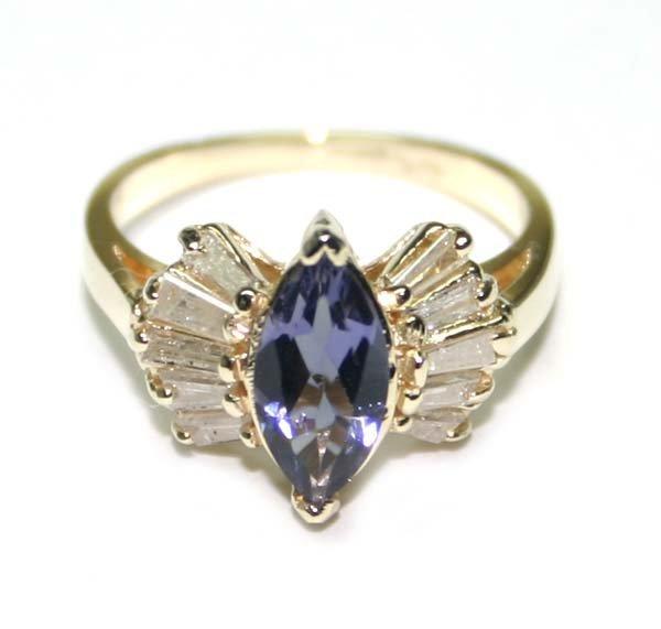 2031: 1.50 CT DIAMOND & IOLITE  14K GOLD RING .