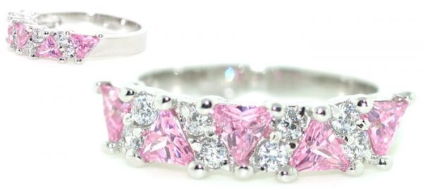 3020: 4 CT LAB WHITE AND PINK SAPP SILVER RING