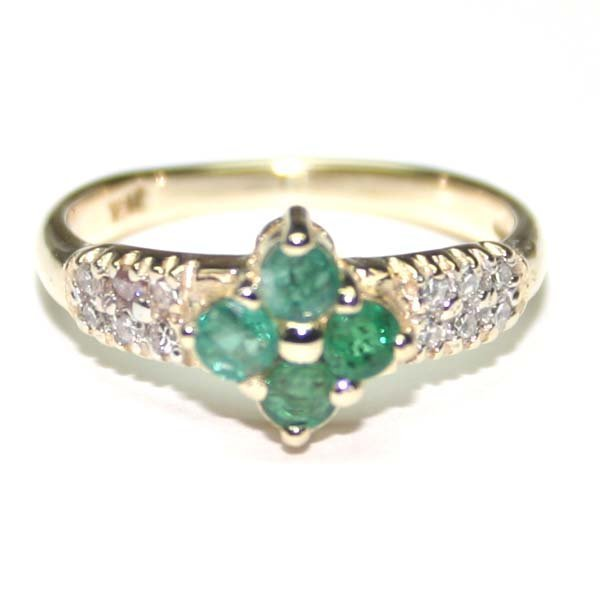 4006: 1.20 CT EMERALD & LAB W,SAPPH GOLD RING 10K .