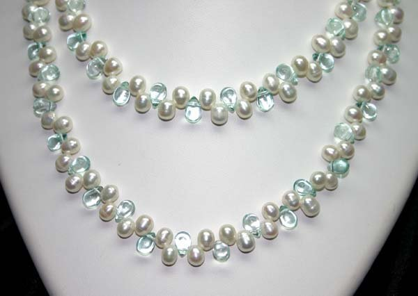 4027: 40' INCHES  7mm PEARLS & LAB BLUE CRYSTAL  NECKLA