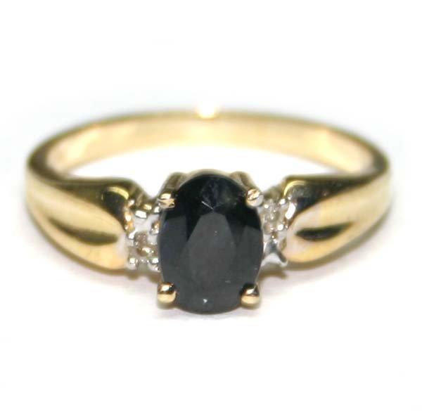 1021: 1, CT SAPPHIRE & DIAMOND 14K GOLD RING .
