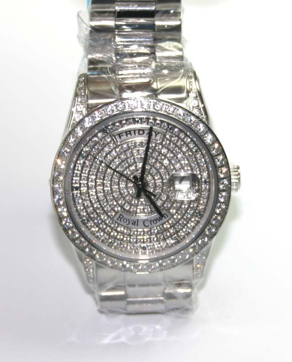 2009: ROYAL CROWN  SS  DAY DATE MAN'S  WATCH  (NEW ) .