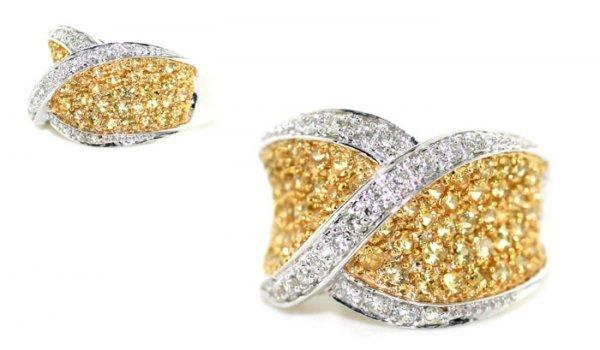 4028: 2.32 CT DIAMOND & YELLOW SAPPHIRE 14K GOLD  RING