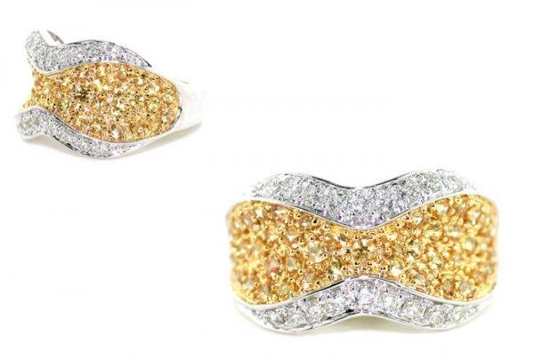 4003: 1.70 CT DIAMOND & YELLOW SAPPHIRE 14K  GOLD RING