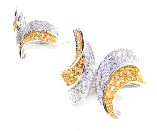 5021: 1.75 CT DIAMOND & YELLOW SAPPHIRE 14K GOLD  RING