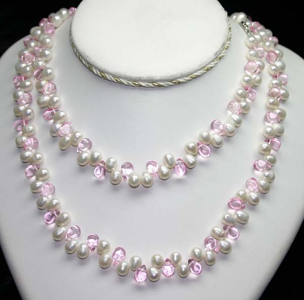 4014: 40' INCHES  7mm PEARLS & LAB P,CRYSTAL  NECKLACE.