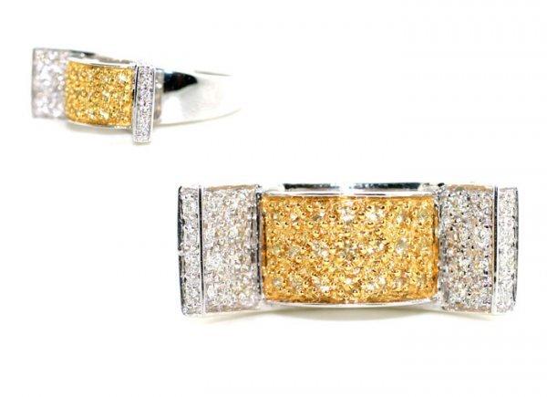 1029: 1.09 CT DIAMOND & YELLOW SAPPHIRE 14K GOLD  RING