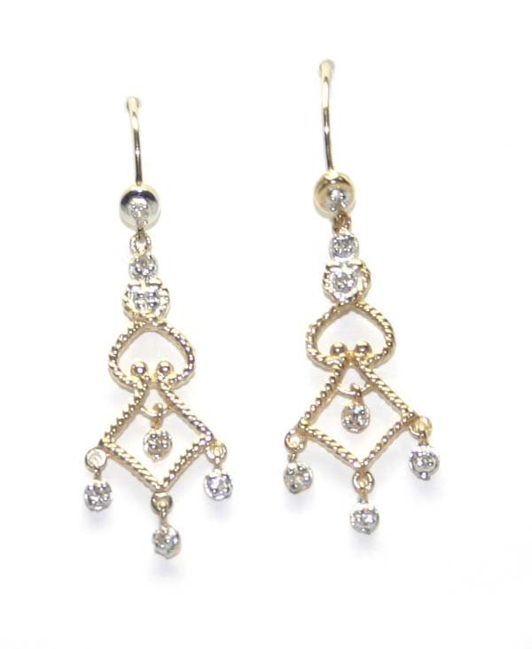 5020: 0.10 CT DIA CHANDELIER  EARRINGS 14K GOLD .