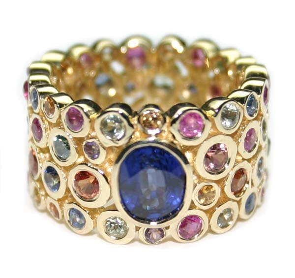 5373: 8 CT DIA & MULTI COLOR GEM 18K 12 GR  RING .
