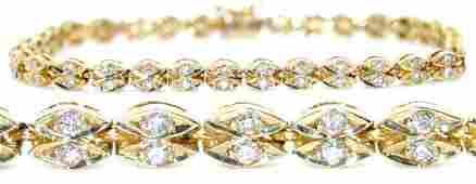 1279: GENUINE 1.50 CT DIAMOND BRACELTE 14K GOLD 10.50 G