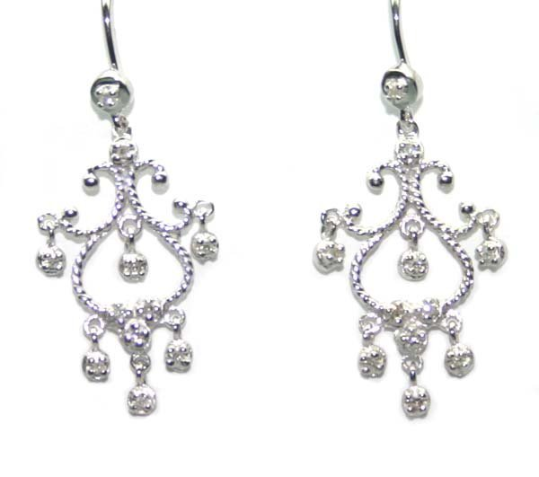 3018: 0.20 CT DIAMOND  CHANDELIER  EARRINGS 14K GOLD .
