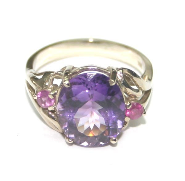 3021: 4,CT AMETHYST & RUBY 14K GOLD RING .