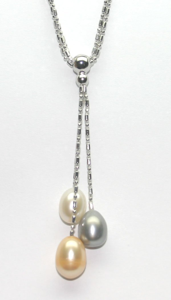 3024: 11mm NATURAL MULTI COLOR PEARL  SILVER NECKLACE.