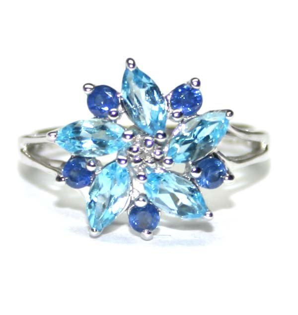 4015: 1.50 CT BLUE TOPAZ & SAPPHIRE 10K GOLD RING .