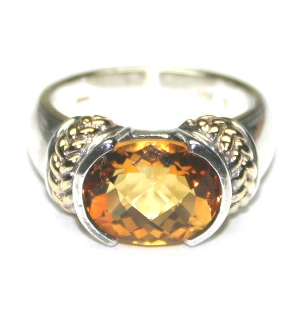 1030: 4,CT CITRIN .925 SILVER & GOLD RING .