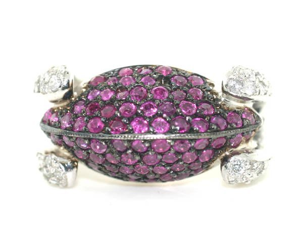 2027: 4,CT DIAMOND & RUBY 19.30 GR 14KT GOLD RING .