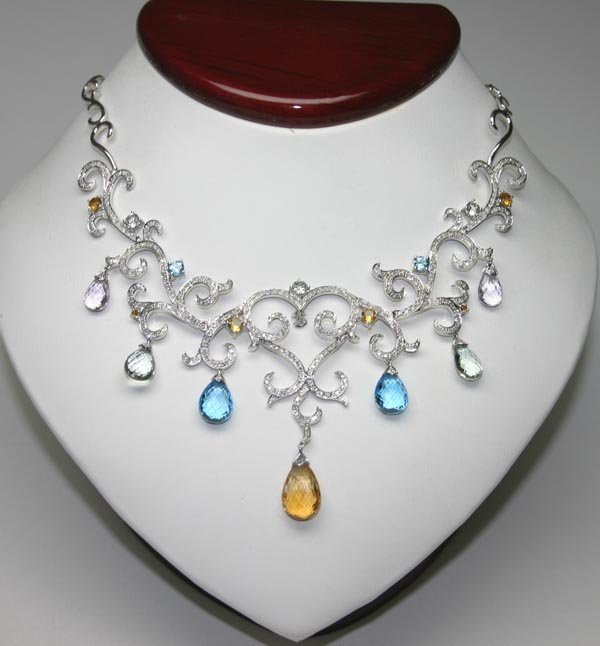 2028: 32.10 CT DIAMOND & MULTI COLOR GEM 14K GOLD NECKL