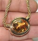 5009: 30,CT CITRIN & DIAMOND 28.70 GR 14K GOLD PENDANT