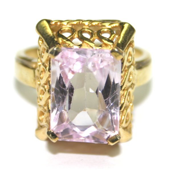 5025: 4.50 CT NATURAL KUNZITE  SILVER  RING .