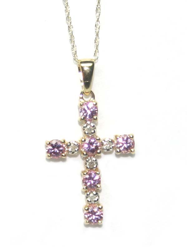 5026: 0.75 CT DIAMOND & PINK TOPAZ 10K GOLD CROSS PENDA