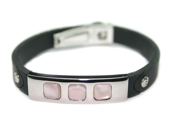 5028: STAINLESS STEEL & MOTHER PEARL LADY'S BRACELET.