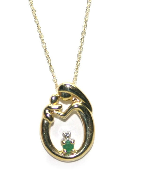 5177: DIAMOND & EMERALD 10K GOLD MOTHER & BABY PENDANT