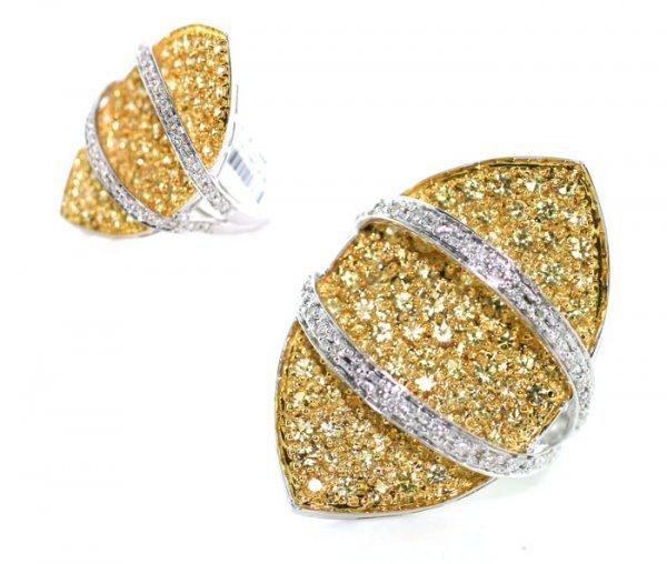 1001: 2.55, CT DIAMOND & YELLOW SAPPHIRE 14K  GOLD RING