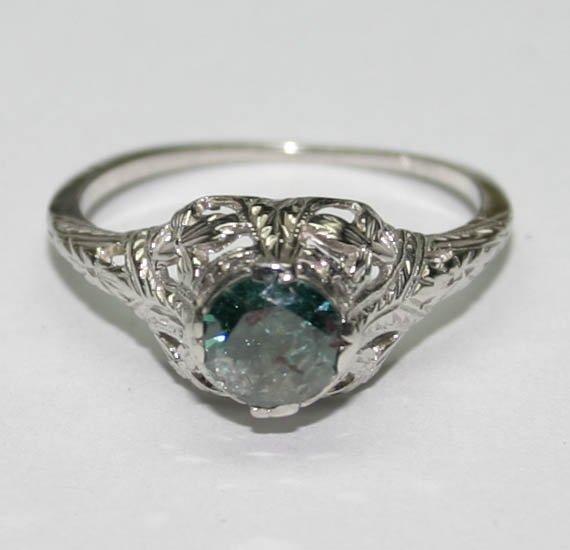 4017: GENUINE  0.55 CT DIAMOND 14K GOLD RING .