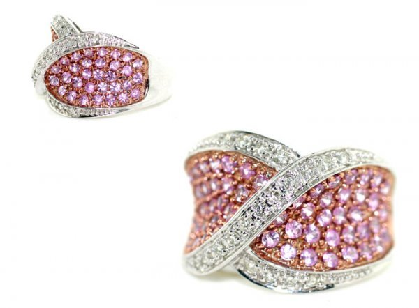 4540: 2.32 CT DIAMOND & PINK SAPPHIRE 14K GOLD  RING .