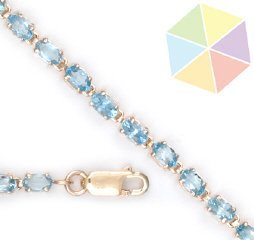 "1: 10K Yellow Gold Blue Topaz  Bracelet  7 1/2"""