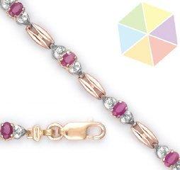 4: Two Tone Gold Ruby Diamond 10K Bracelet