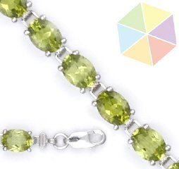 10: 14K White Gold Peridot Bracelet (Clearance)