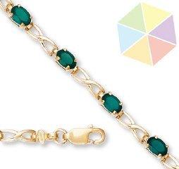13: Yellow Gold Green Topaz 10K Bracelet