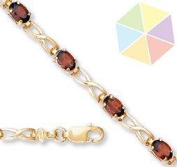 14: Yellow Gold Garnet 10K Bracelet