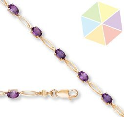 15: Yellow Gold Amethyst 10K Bracelet