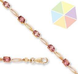 16: Yellow Gold Pink Topaz 10k Bracelet
