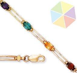 17: Yellow Gold Multi-Color 10k Bracelet
