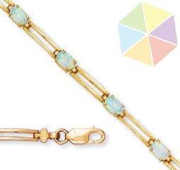 18: Yellow Gold Simulated Opal 10k Bracelet