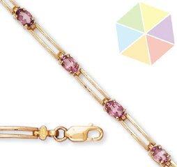 19: Yellow Gold Pink Topaz 10k Bracelet