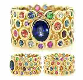 4089: 8 Ct Blue Diamond And Multi Color Gem 18K Ring